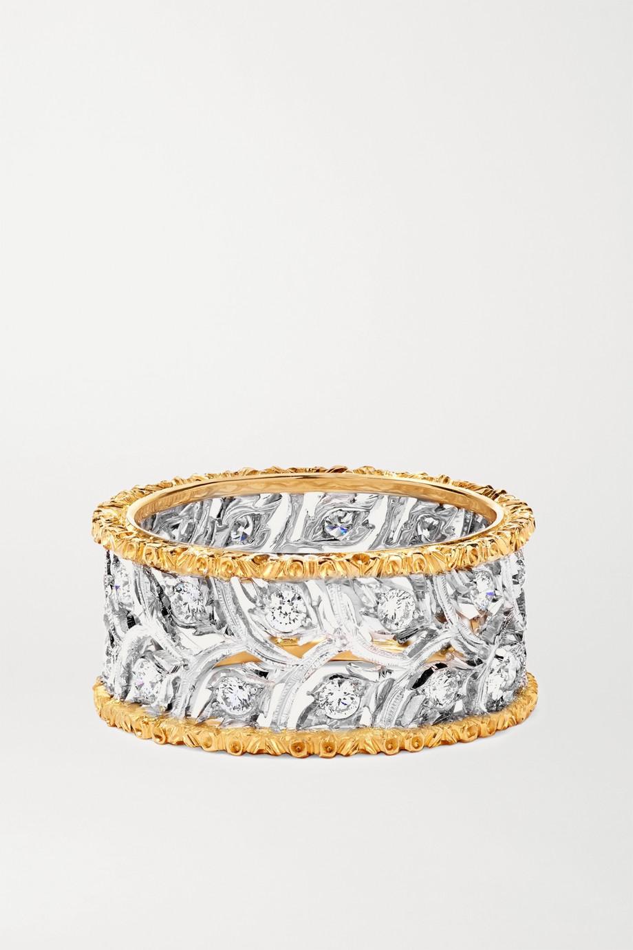 Buccellati Ramage Eternelle Ring aus 18 Karat Weiß- und Gelbgold mit Diamanten