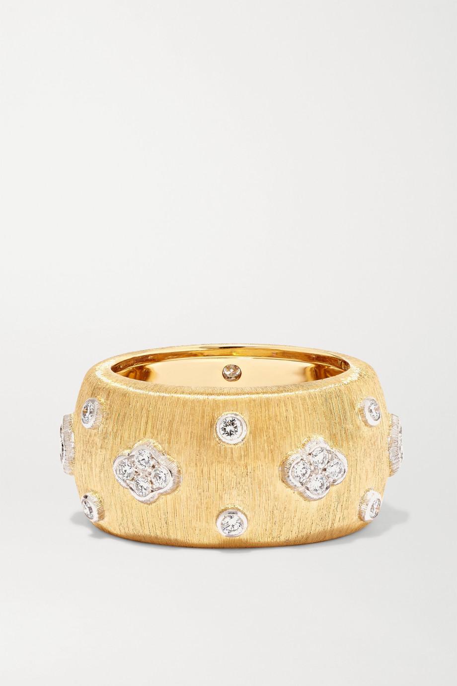 Buccellati Macri Eternelle Ring aus 18 Karat Gelb- und Weißgold mit Diamanten