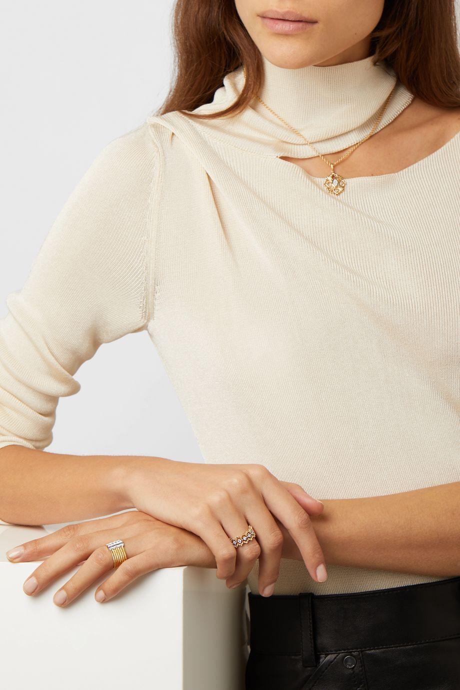 Buccellati Rombi Ring aus 18 Karat Gelb- und Weißgold mit Diamanten