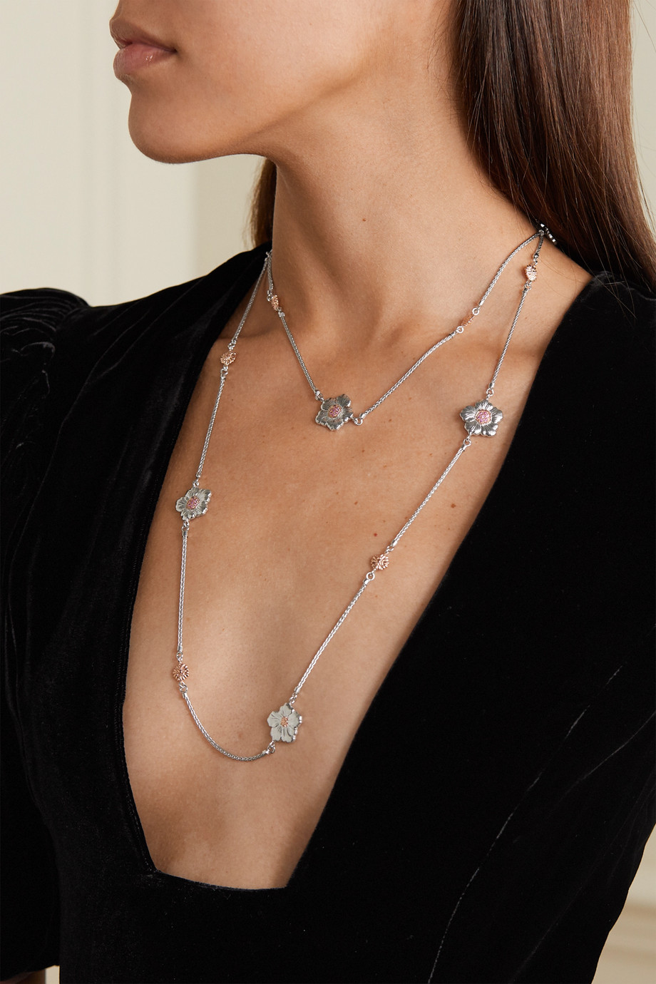 Buccellati Gardenia sterling silver and pink gold vermeil sapphire necklace
