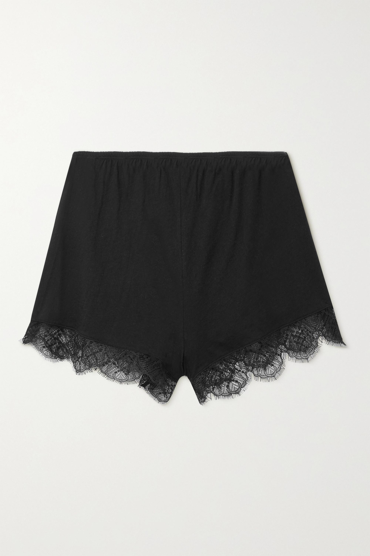 Skin - + NET SUSTAIN Mandy lace-trimmed organic Pima cotton-jersey shorts