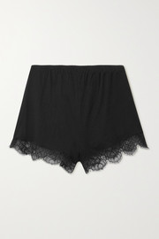 Skin + NET SUSTAIN Mandy lace-trimmed organic Pima cotton-jersey shorts