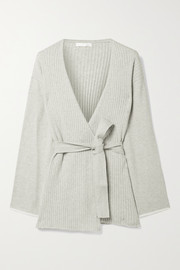 Skin Marissa belted ribbed cotton and cashmere-blend cardigan