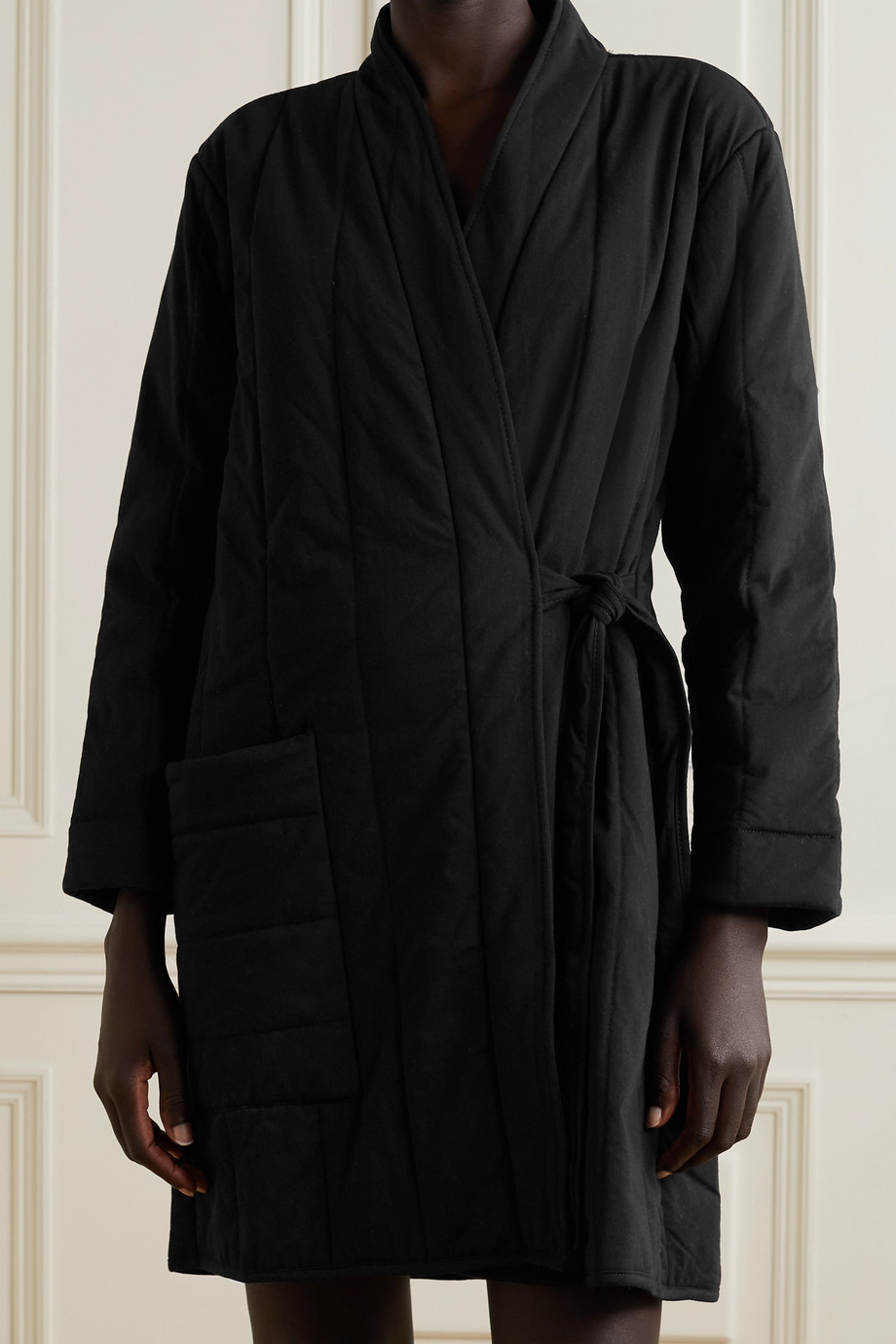 Skin Stormie quilted cotton-jersey robe