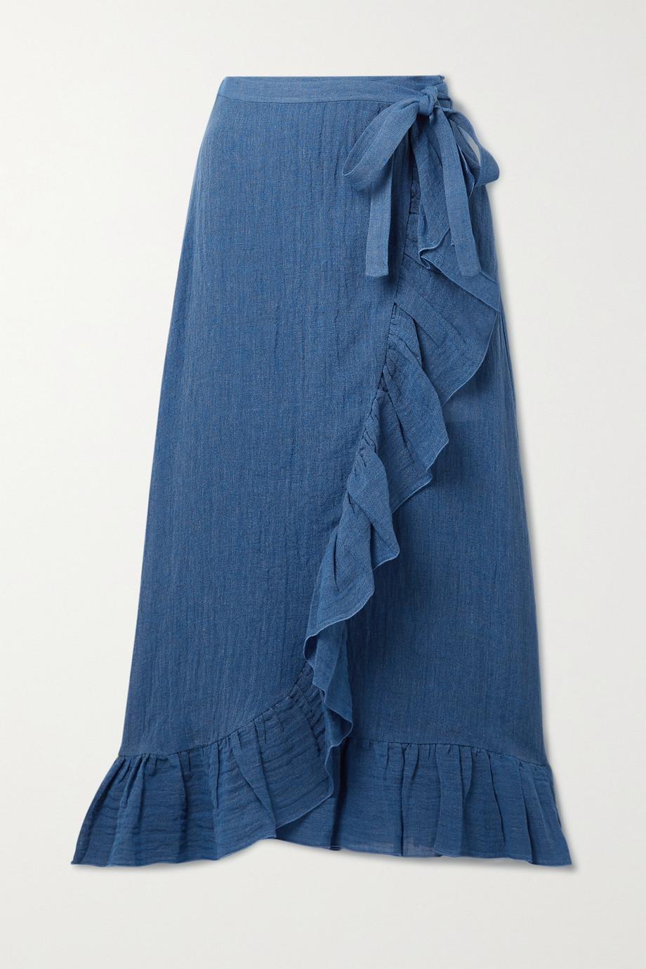 Lisa Marie Fernandez + NET SUSTAIN ruffled organic linen-blend gauze wrap midi skirt
