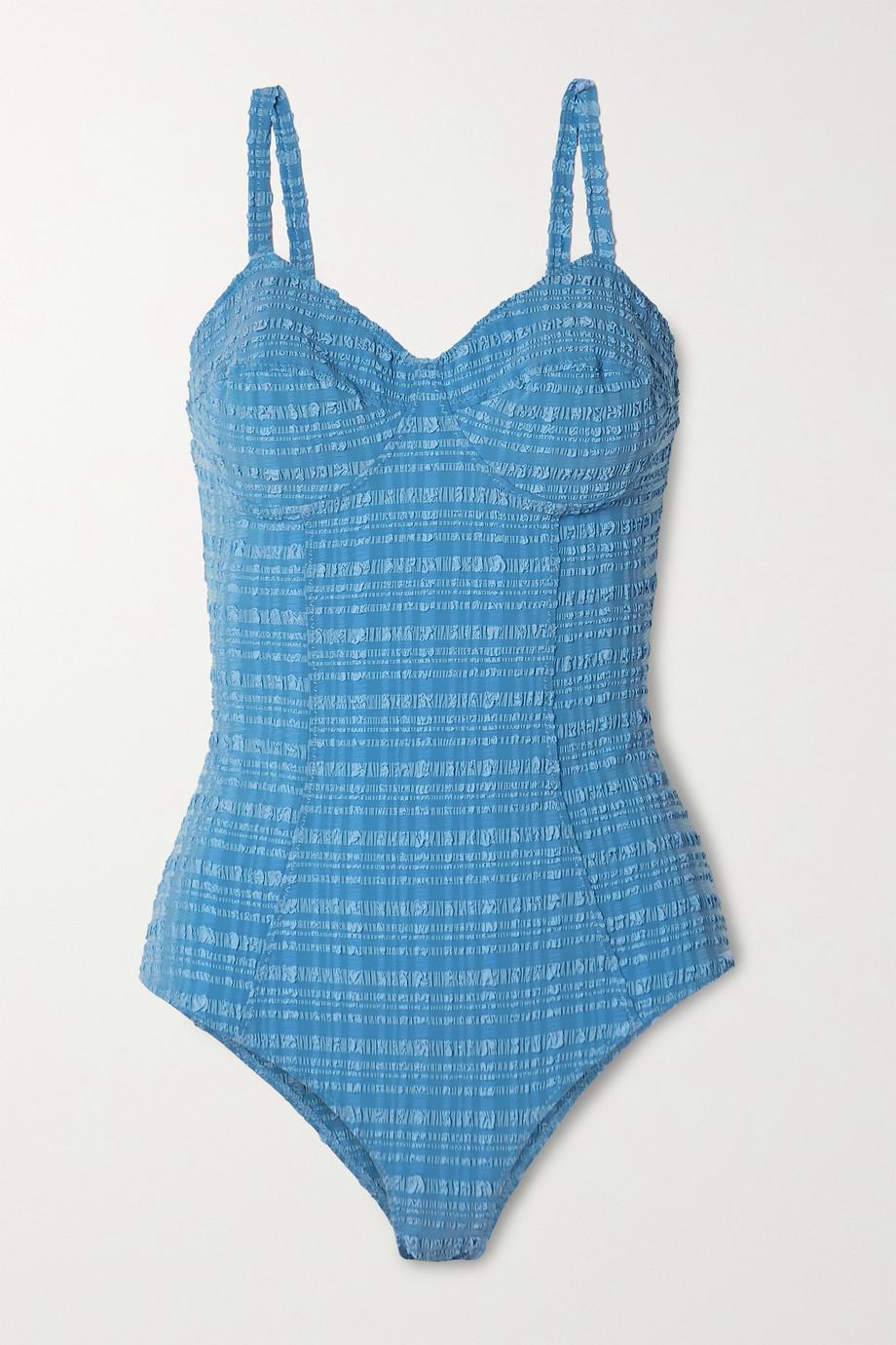 Lisa Marie Fernandez + NET SUSTAIN Goldwyn seersucker swimsuit