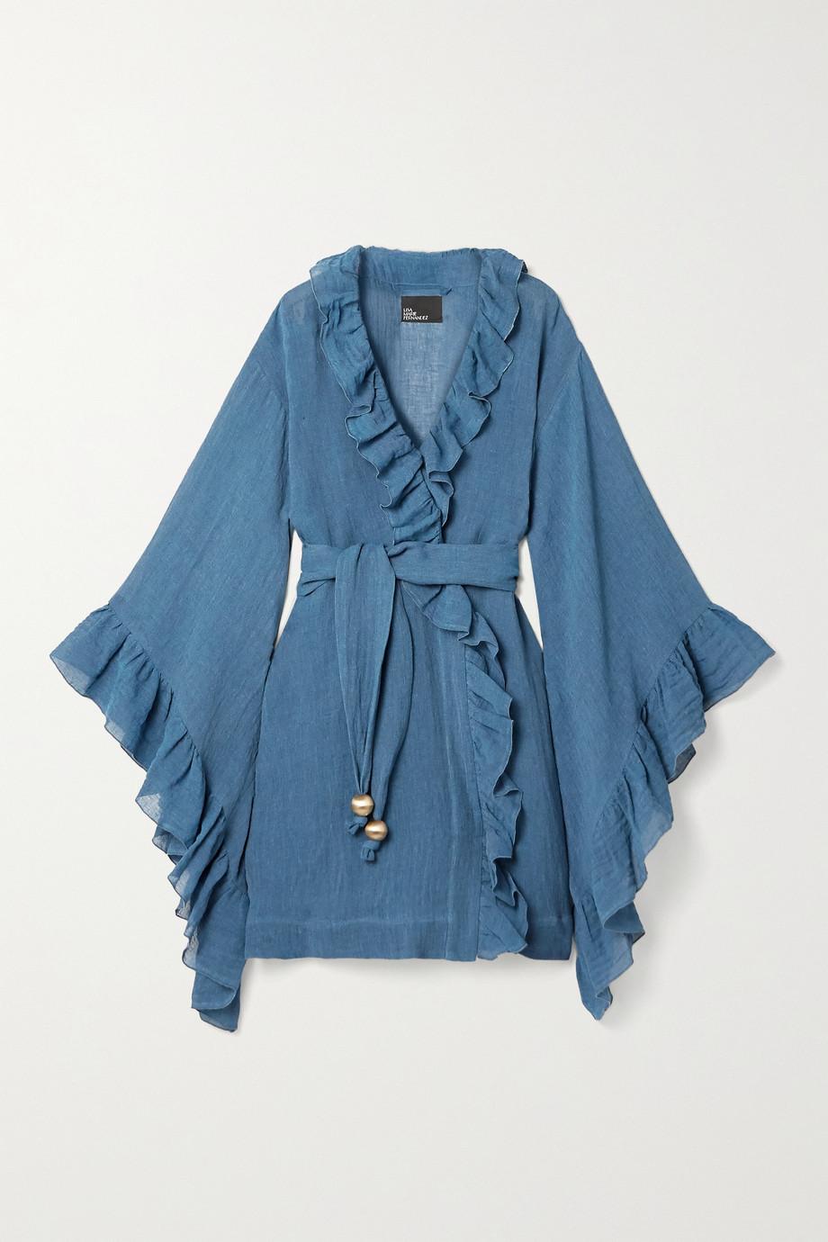 Lisa Marie Fernandez + NET SUSTAIN Anita belted ruffled organic linen-blend gauze robe