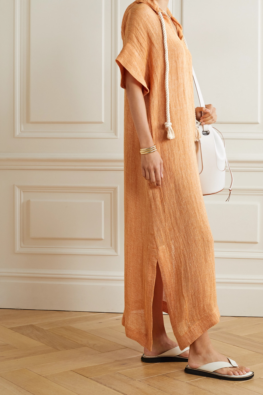 Lisa Marie Fernandez 【NET SUSTAIN】连帽亚麻混纺薄纱长罩衫裙