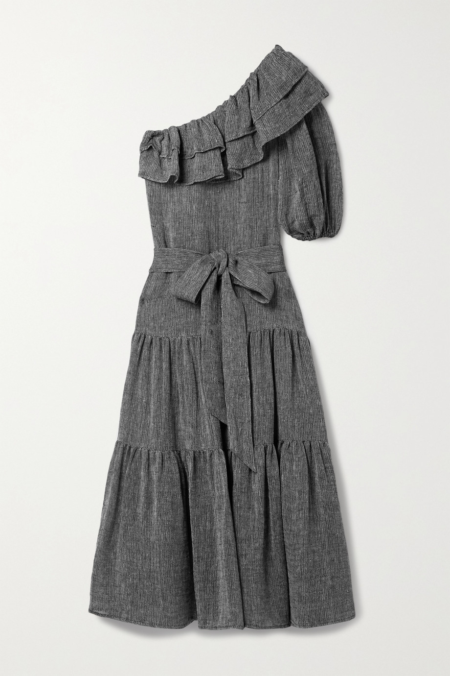 Lisa Marie Fernandez Arden 单肩分层式有机亚麻混纺薄纱超长连衣裙