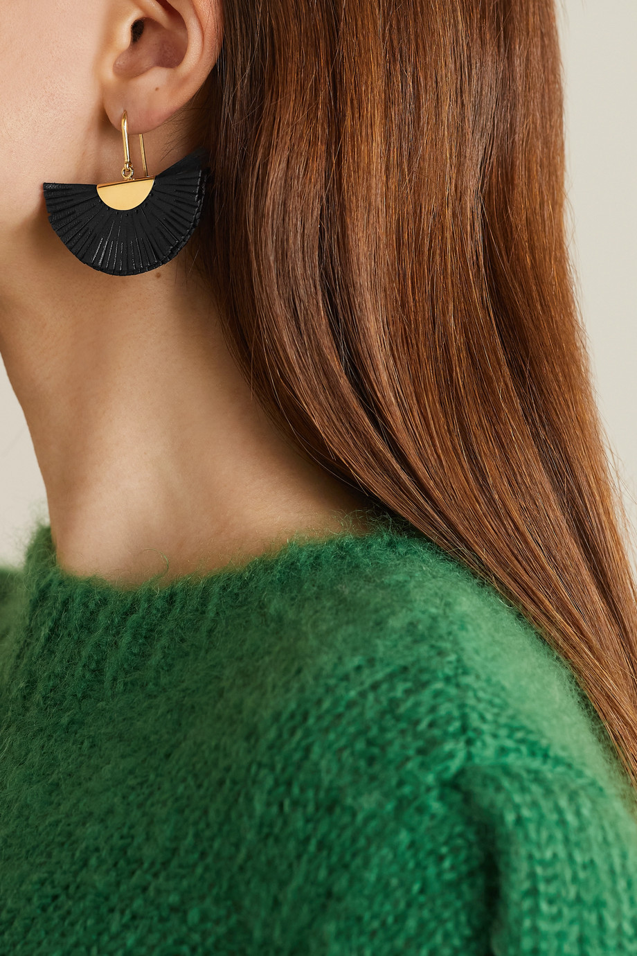 Isabel Marant Gold-tone and leather earrings