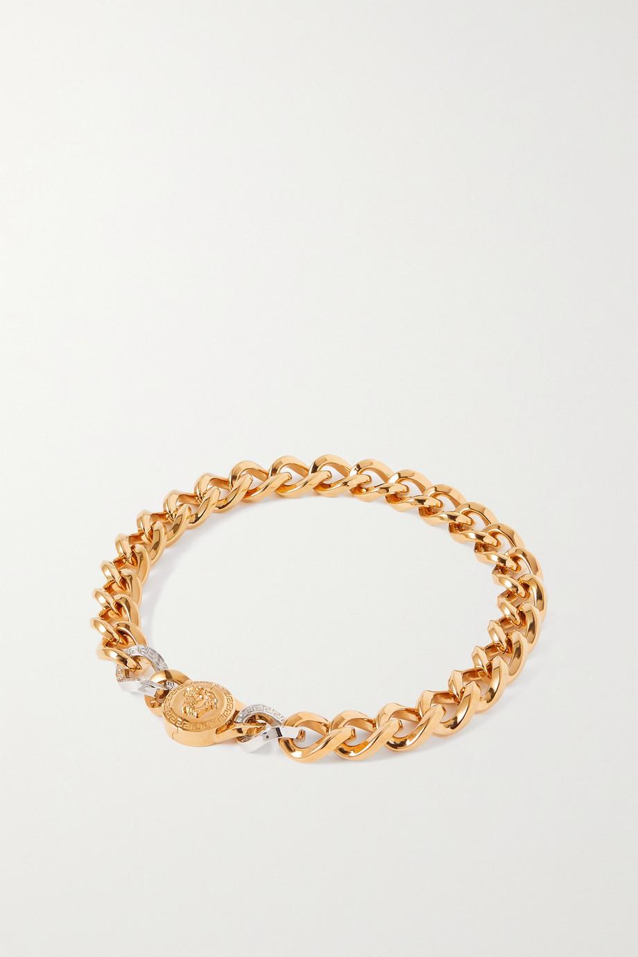 Versace Collier en métal doré et argenté Medusa
