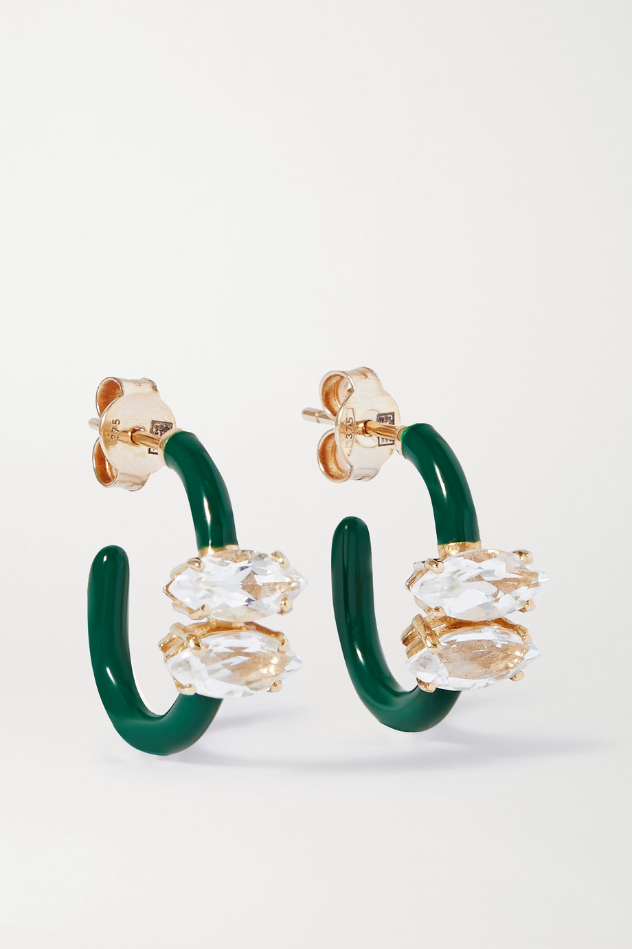 Bea Bongiasca Vine 9-karat gold, enamel and rock crystal earrings