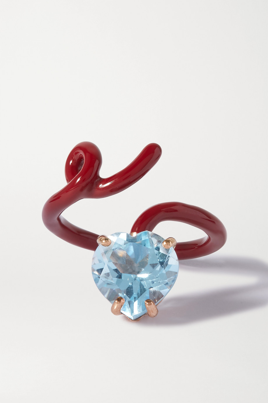 Bea Bongiasca Baby Vine Tendril 9-karat rose gold, enamel and topaz ring