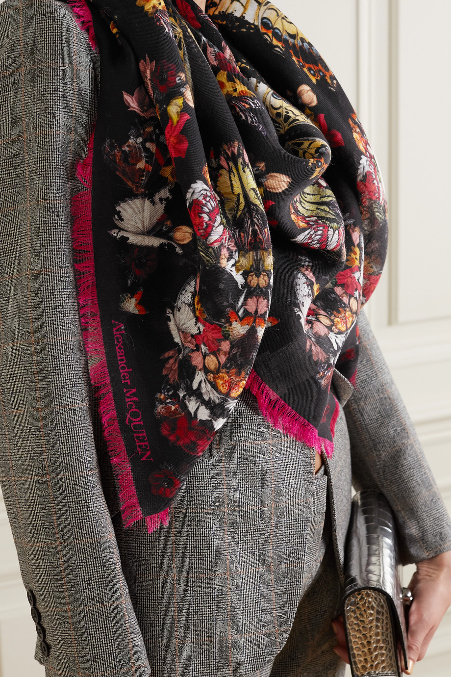 Alexander McQueen Printed wool-twill scarf