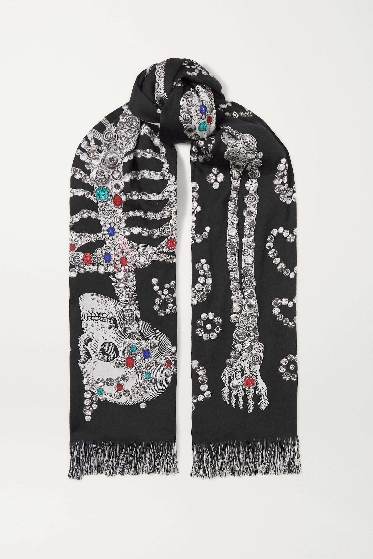 Alexander McQueen Fringed wool-blend jacquard scarf