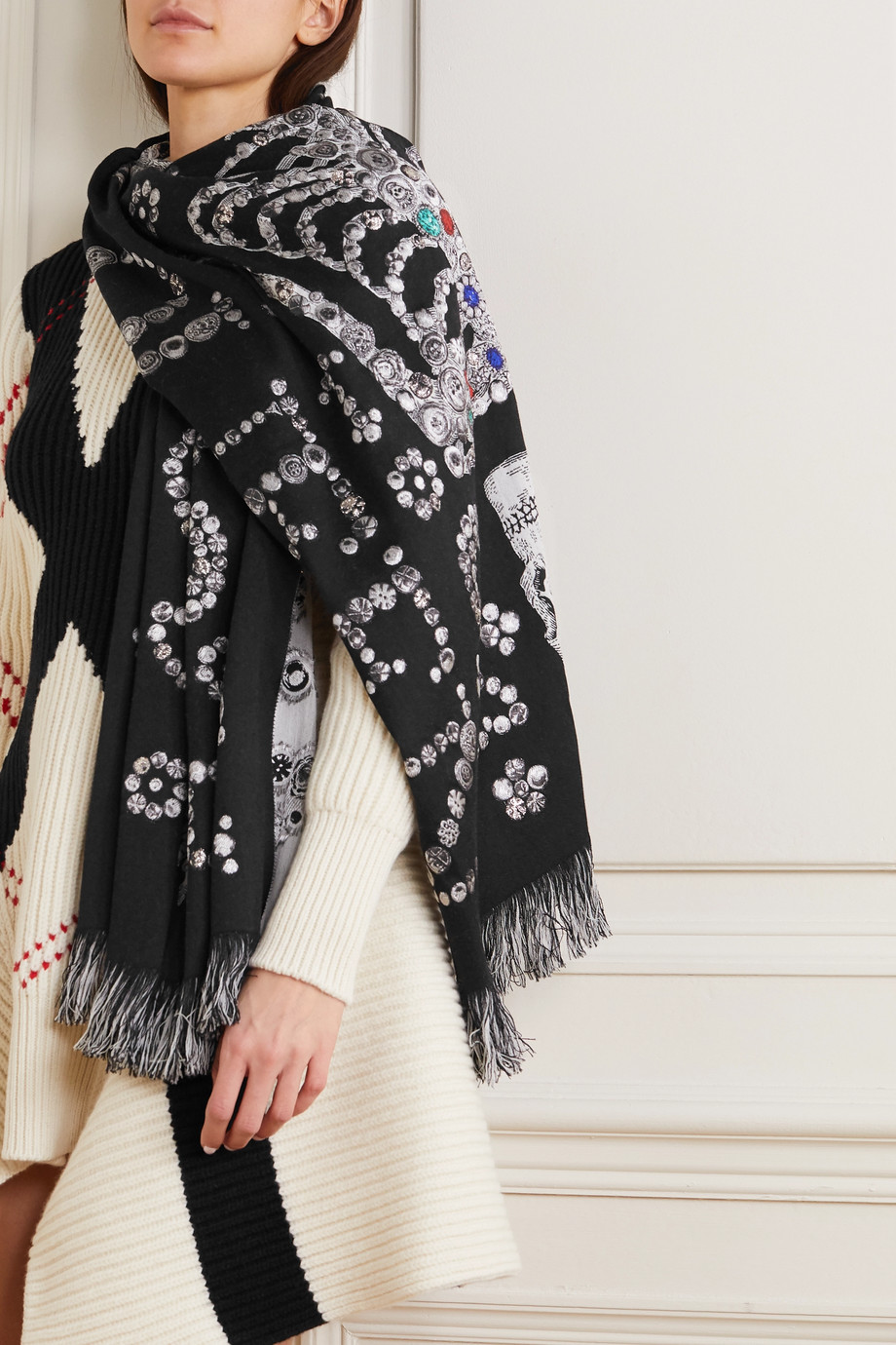 Alexander McQueen Fringed wool-blend jacquard scarf