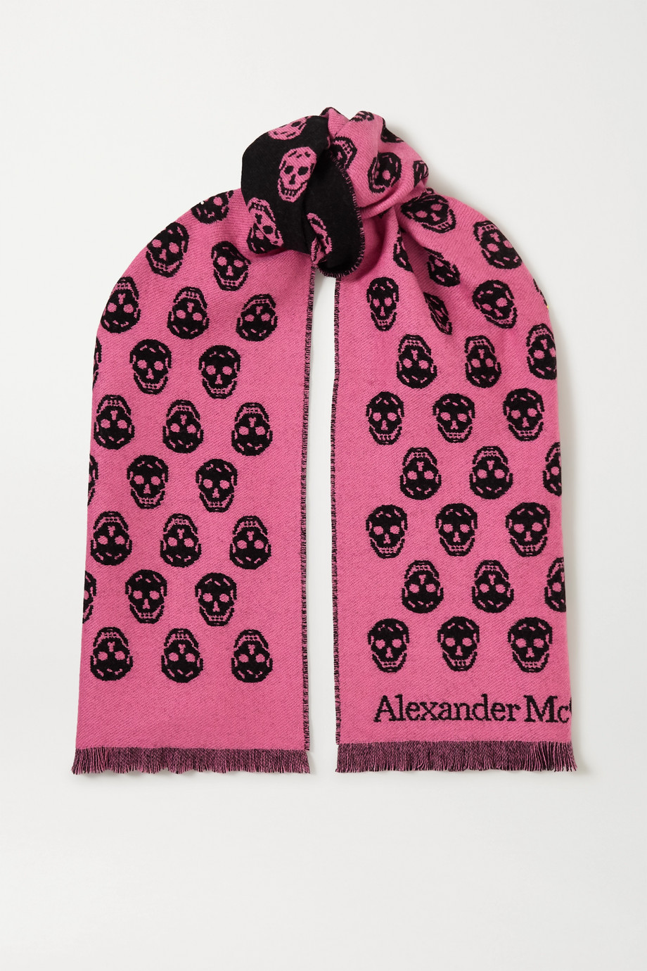 Alexander McQueen Reversible fringed intarsia wool scarf