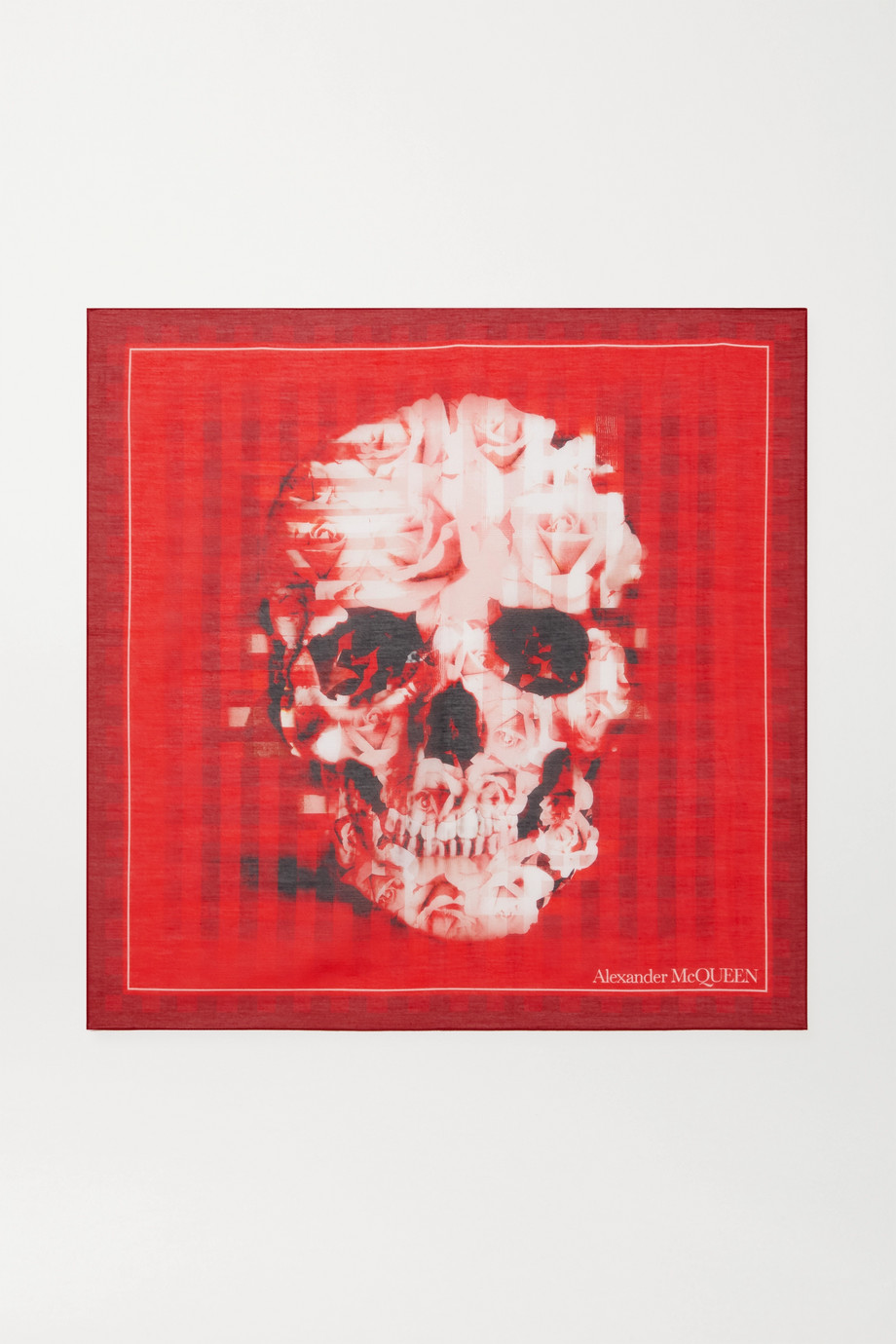 Alexander McQueen Printed cotton and silk-blend scarf