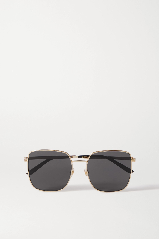 Gucci Oversized square-frame gold-tone and acetate sunglasses