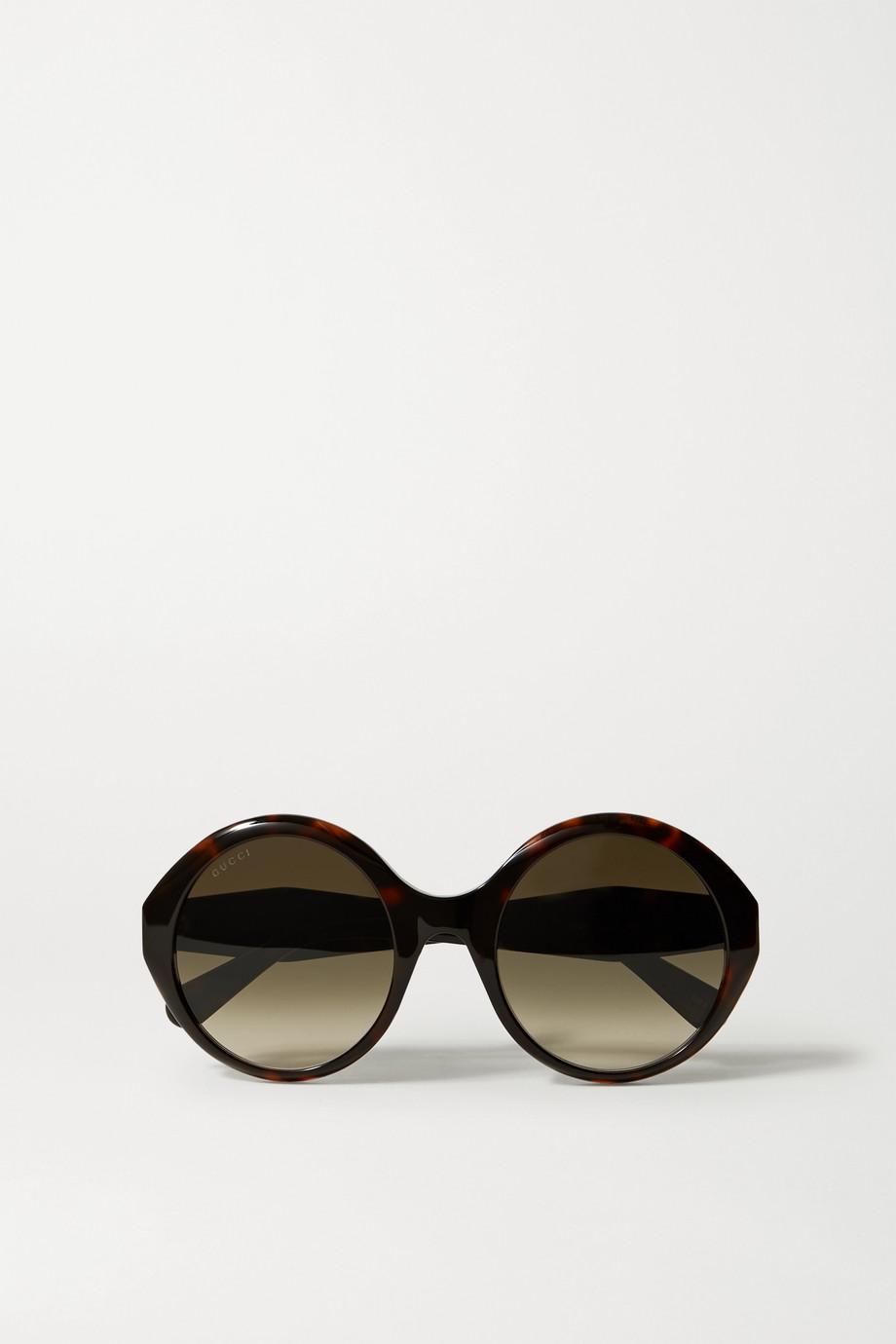 Gucci Oversized round-frame tortoiseshell acetate sunglasses