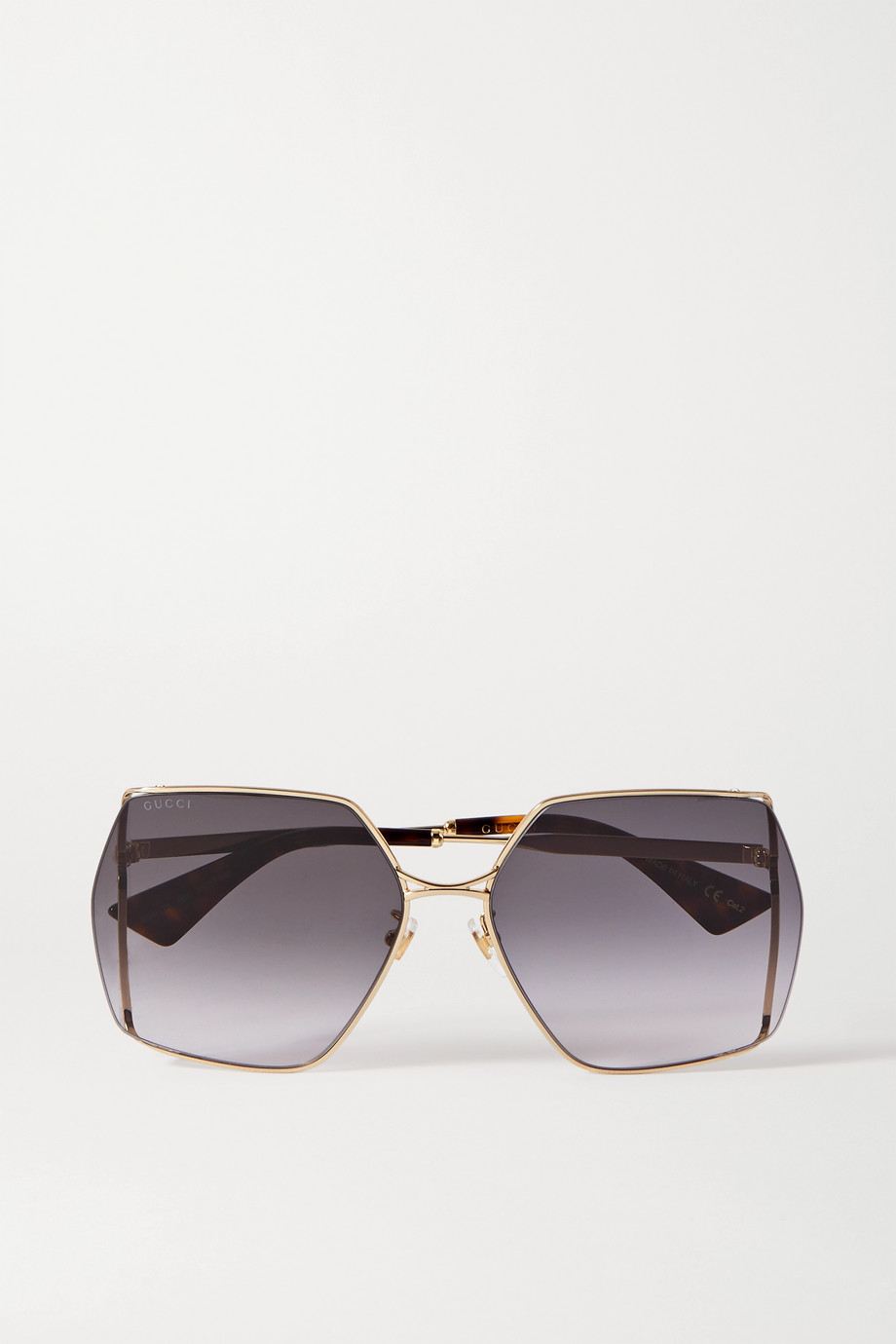 Gucci Oversized hexagon-frame gold-tone and acetate sunglasses