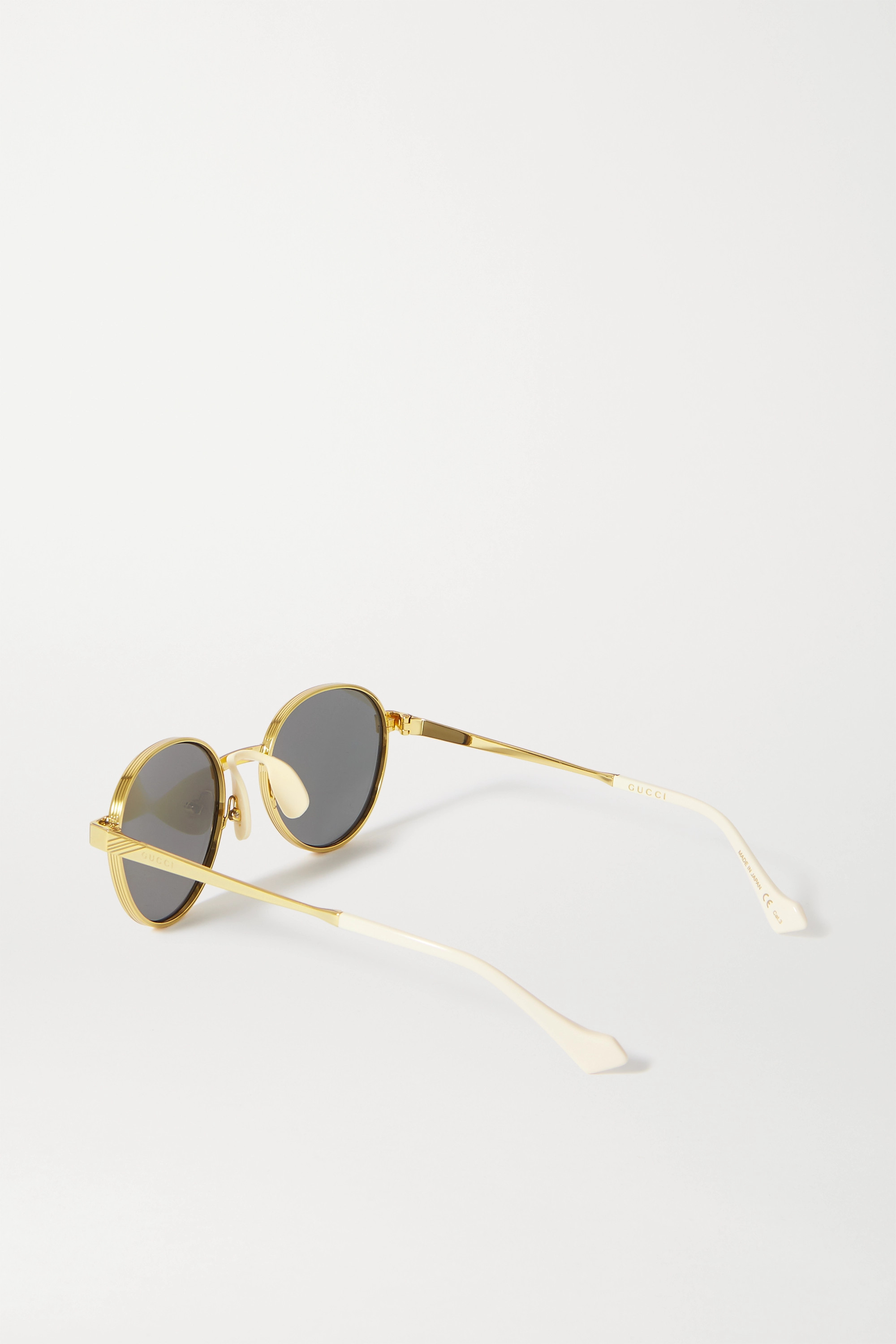 Gucci Round-frame gold-tone mirrored sunglasses