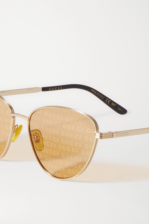 Gucci Cat-eye gold-tone and acetate sunglasses