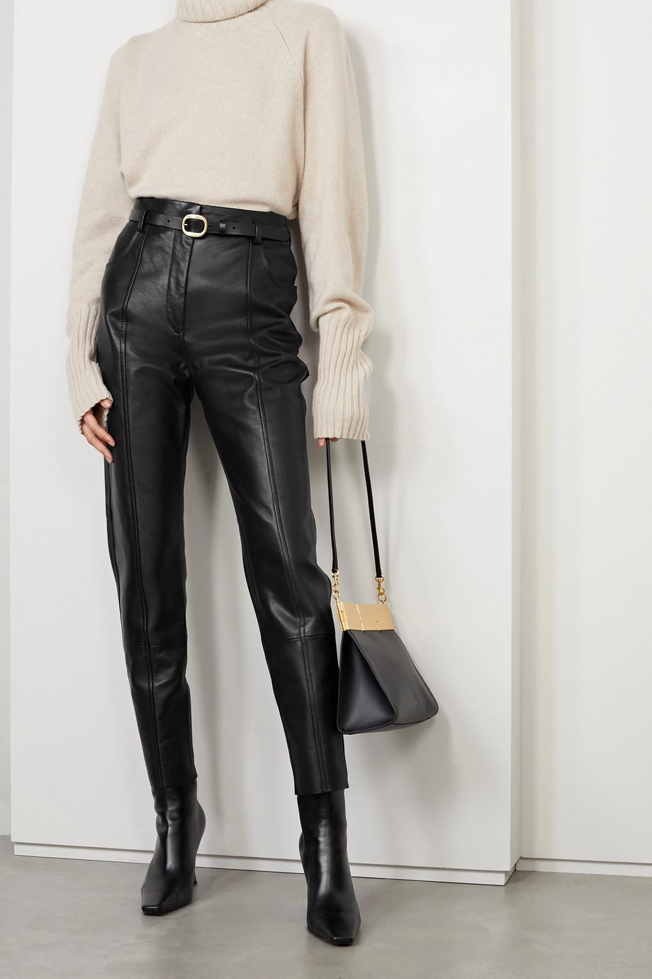Petar Petrov Palmer B belted leather straight-leg pants