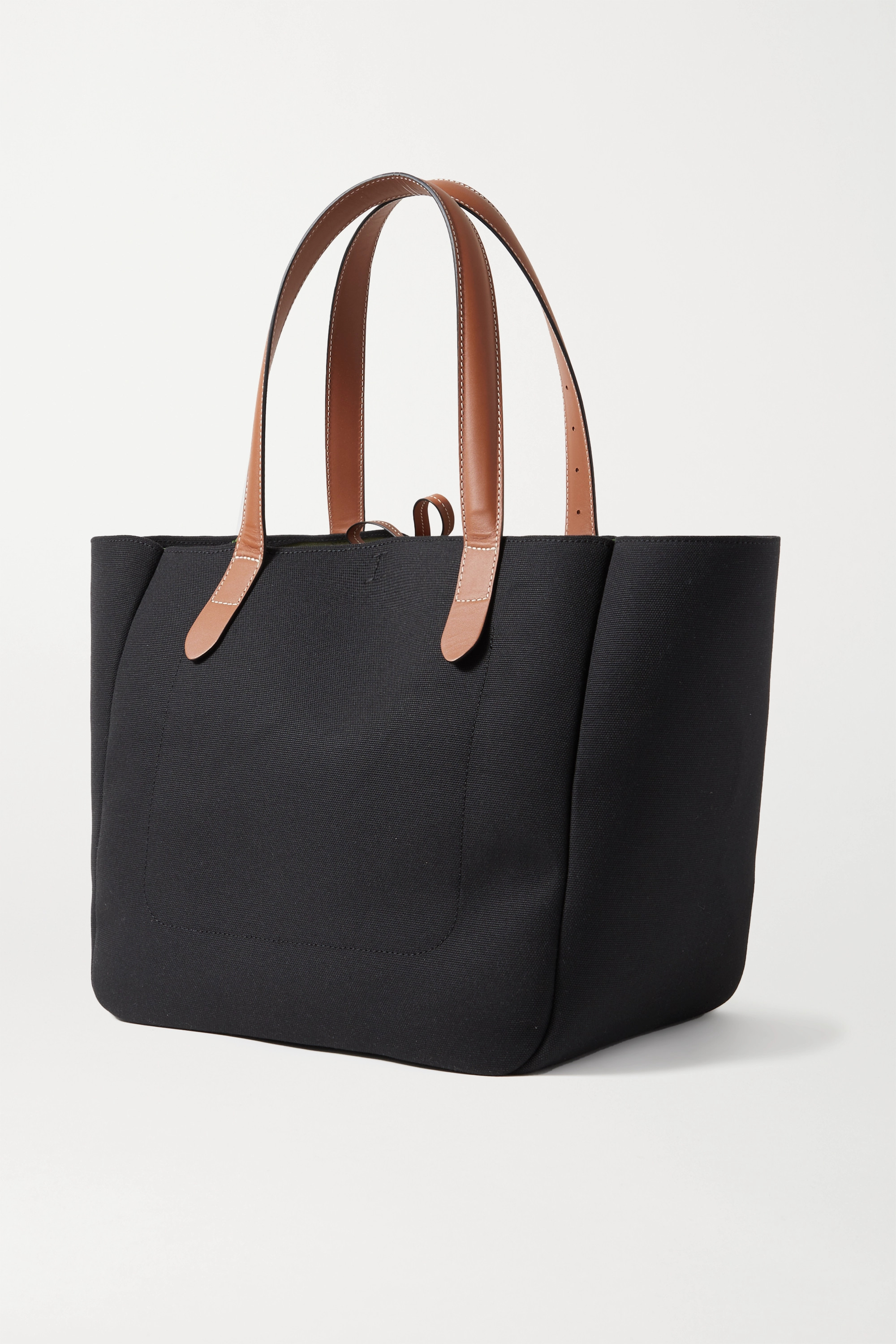 JW Anderson Leather-trimmed embroidered canvas tote