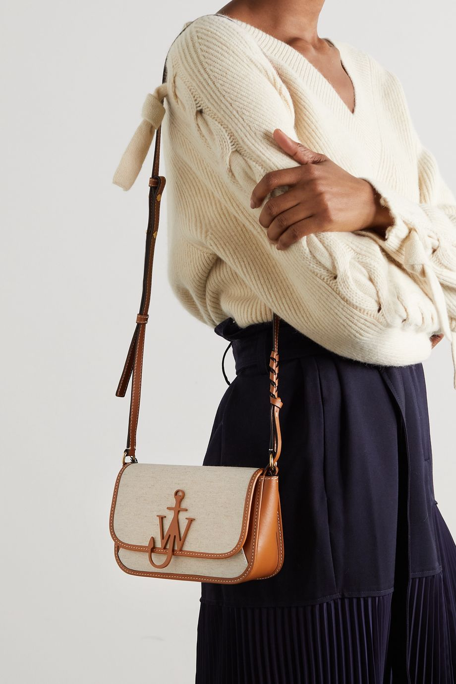 JW Anderson Braided Midi Anchor leather-trimmed canvas shoulder bag