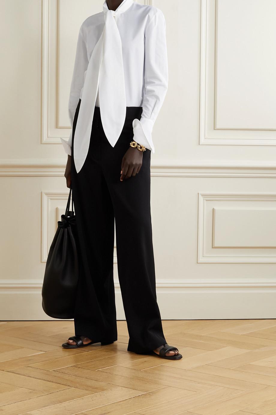 Petar Petrov Chavi tie-neck cotton and silk-blend poplin shirt
