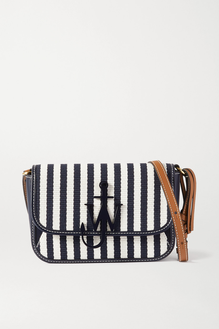 JW Anderson Anchor Nano striped canvas and leather shoulder bag
