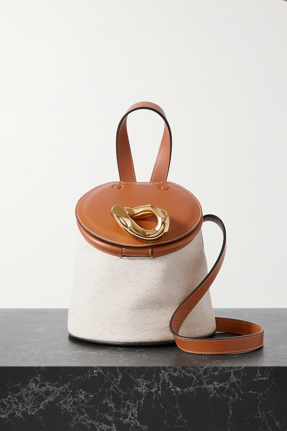 JW Anderson Chain Lid leather and canvas bucket bag