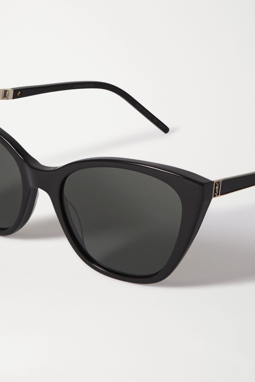 SAINT LAURENT Cat-eye acetate and gold-tone sunglasses