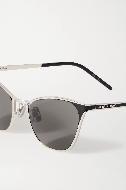SAINT LAURENT Silberfarbene Sonnenbrille mit Cat-Eye-Rahmen und Details aus Azetat