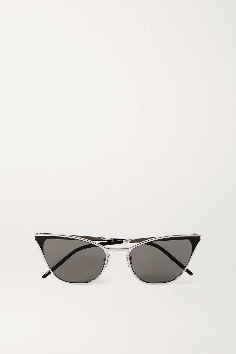 SAINT LAURENT Cat-eye silver-tone and acetate sunglasses