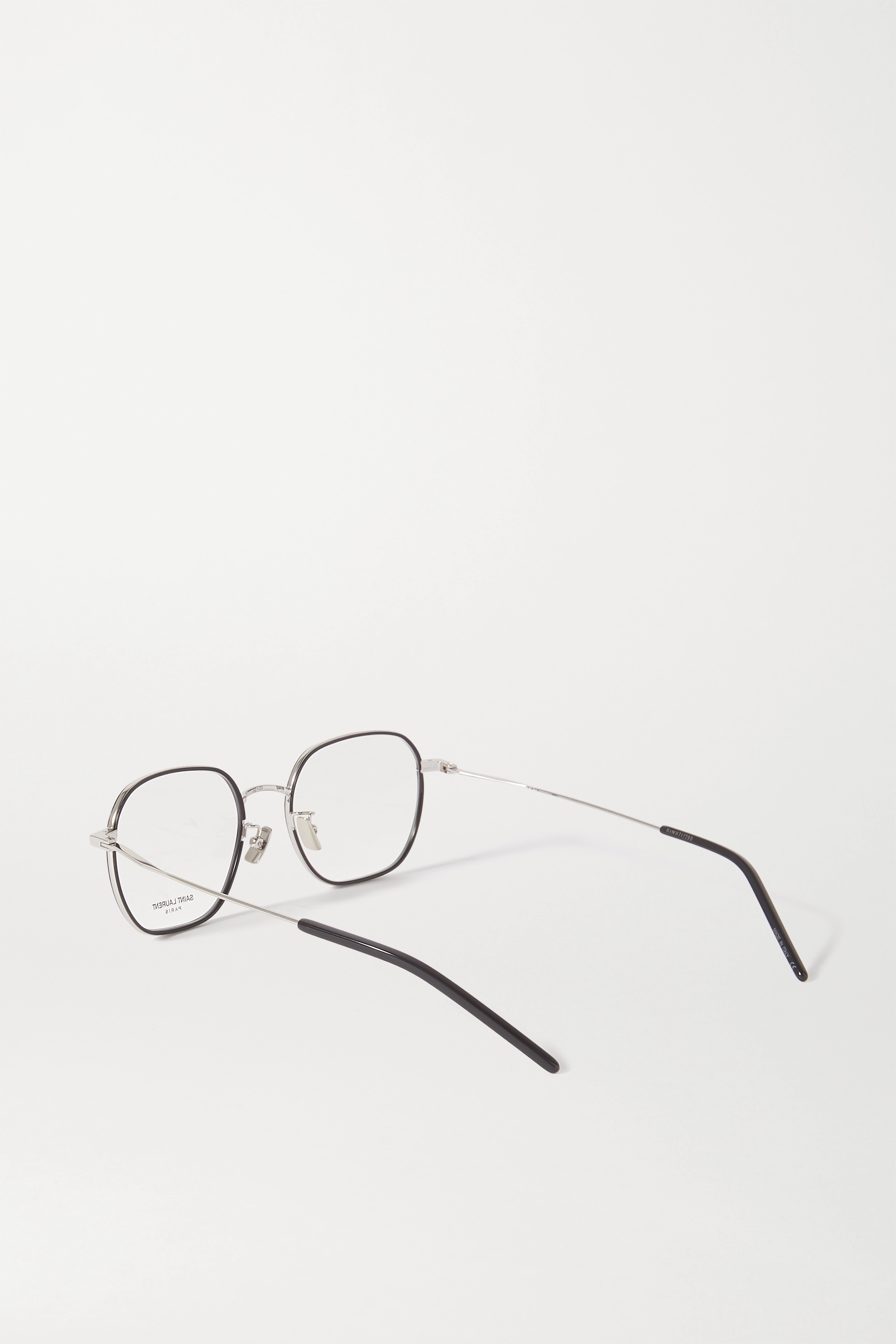 SAINT LAURENT Hexagon-frame acetate and silver-tone optical glasses