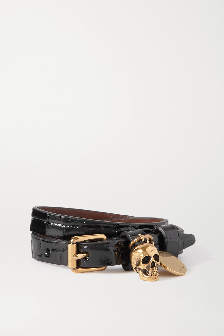 Alexander McQueen Gold-tone and croc-effect leather wrap bracelet