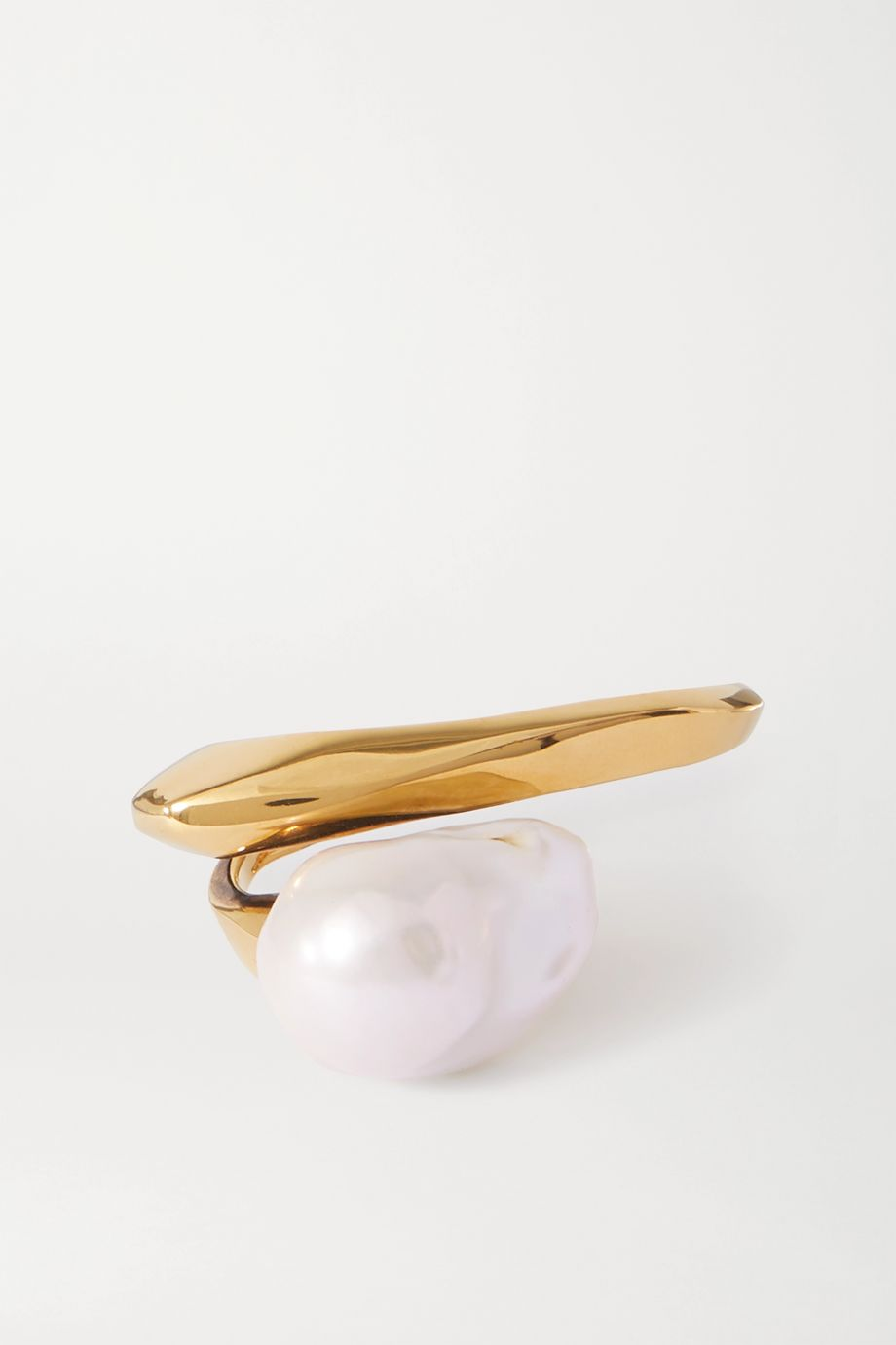 Alexander McQueen Gold-tone faux pearl two-finger ring