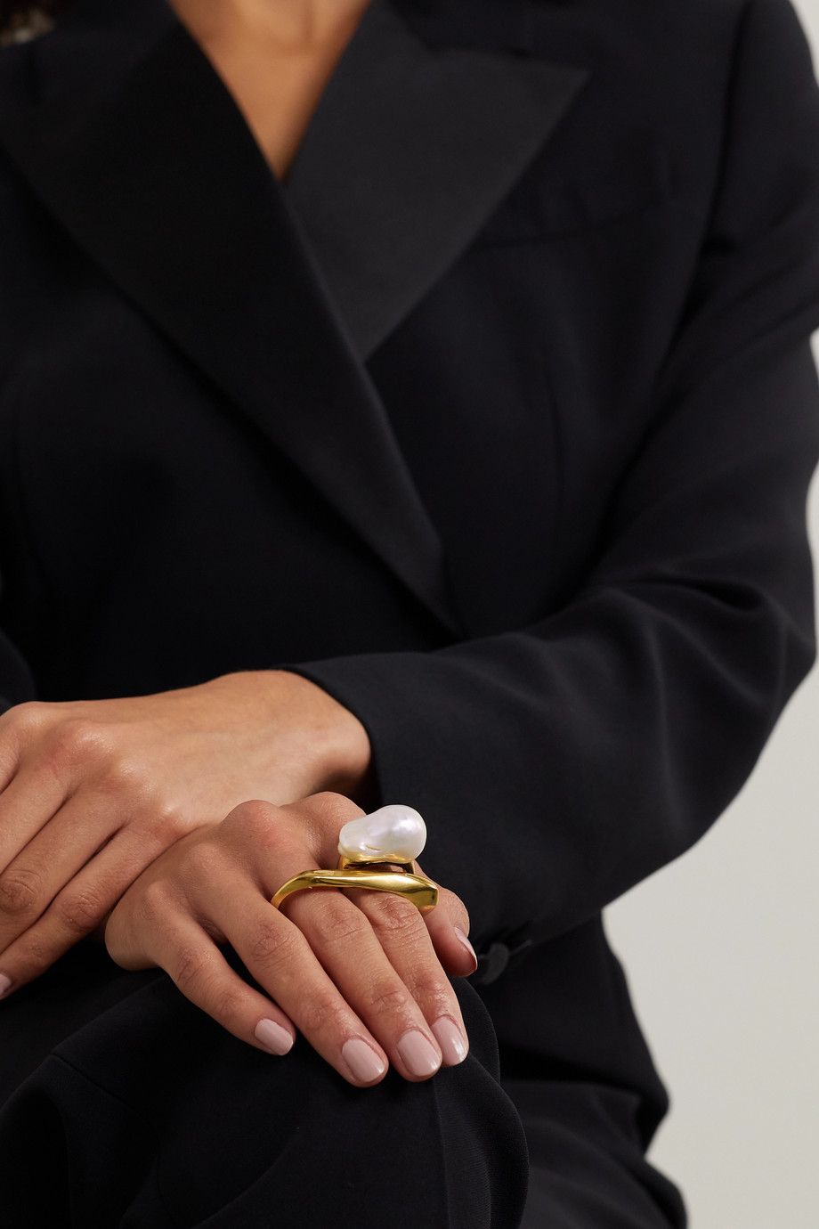Alexander McQueen 人造珍珠金色双指戒指