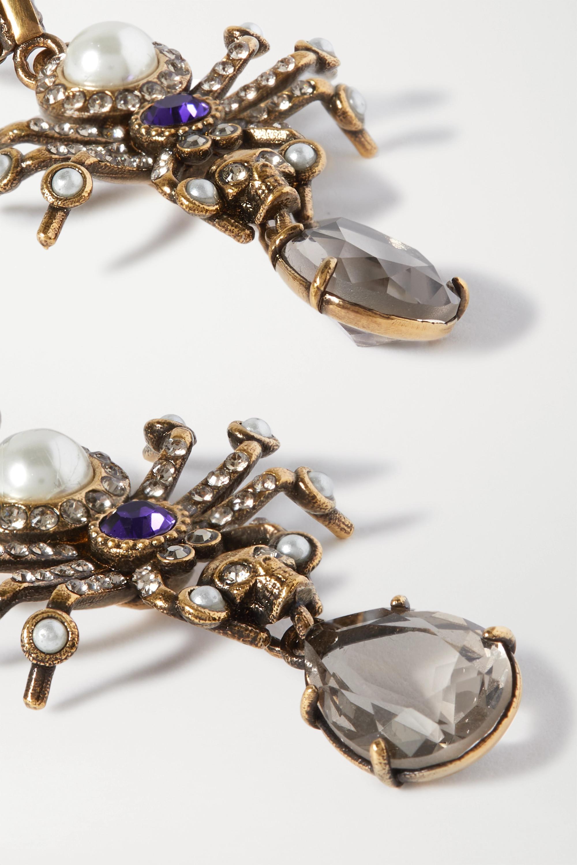 Alexander McQueen Goldfarbene Ohrringe mit Kristallen und Kunstperlen