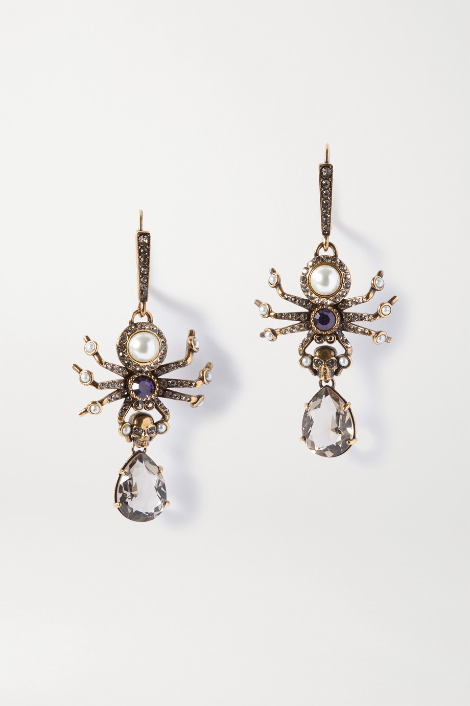 Alexander McQueen Crystal, faux pearl and gold-tone earrings