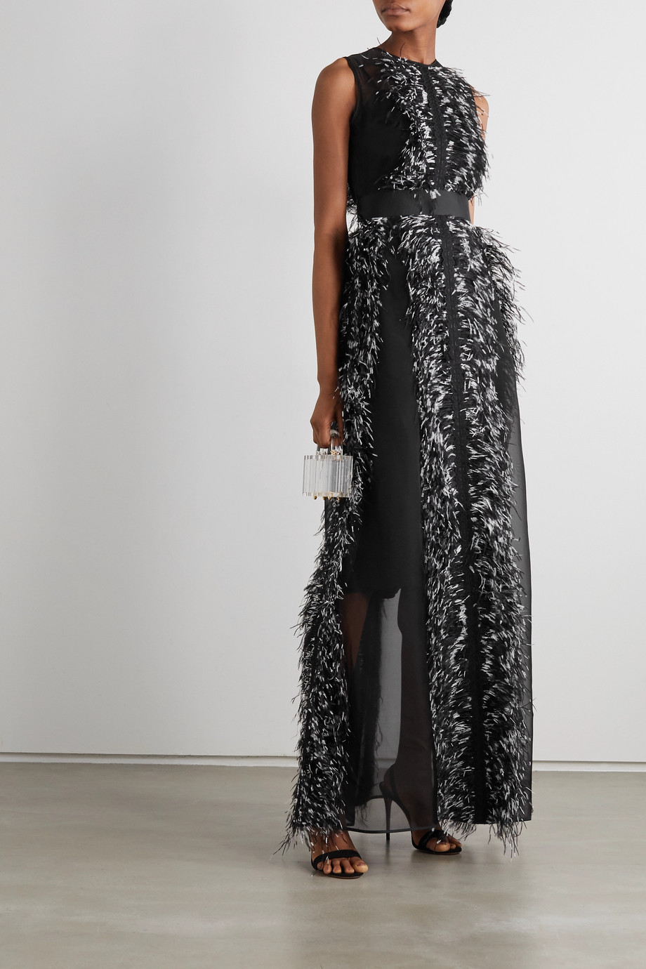 Huishan Zhang Beau feather and grosgrain-trimmed silk-organza gown