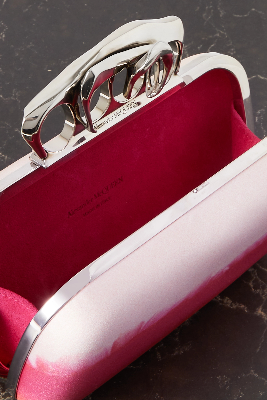 Alexander McQueen Four Ring verzierte Clutch aus Seidensatin mit Farbverlauf