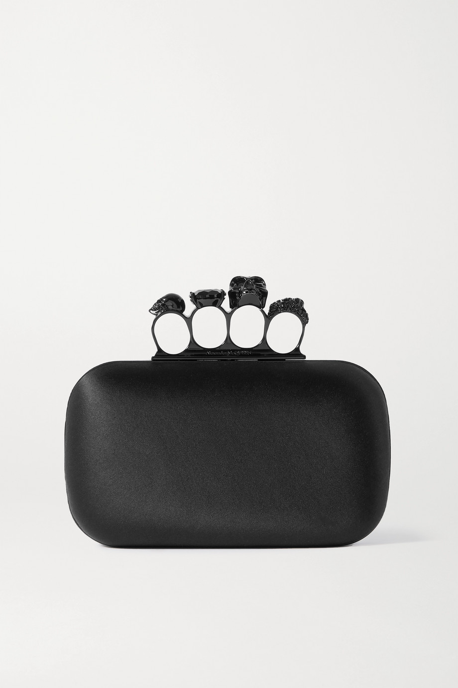 Alexander McQueen Four Ring embellished silk-satin clutch