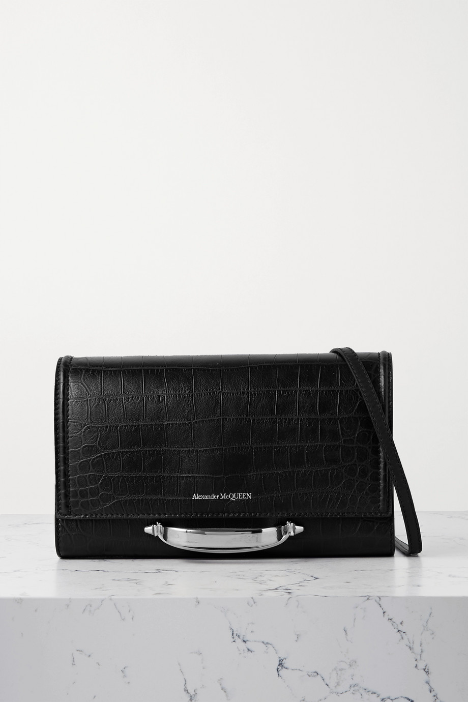 Alexander McQueen The Story croc-effect leather shoulder bag