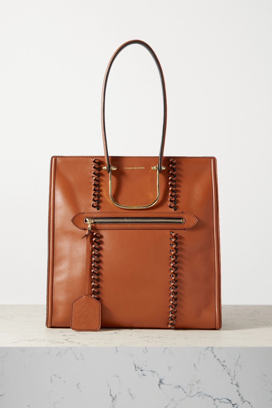 Alexander McQueen The Tall Story braided leather tote