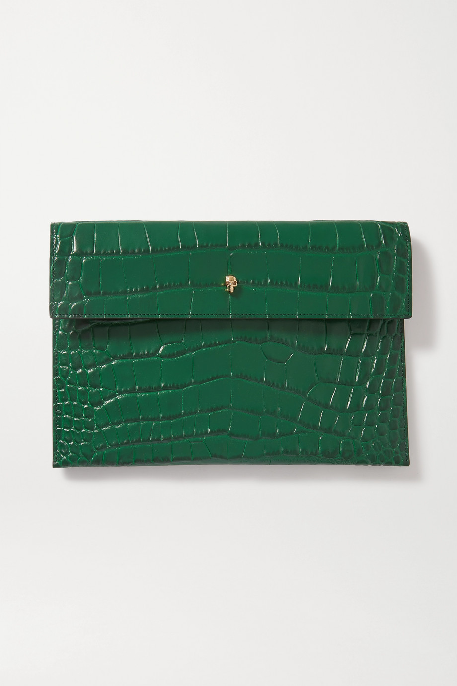 Alexander McQueen Envelope croc-effect leather pouch