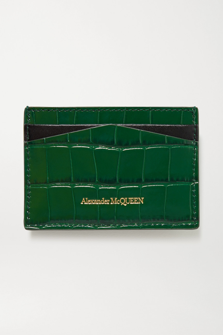 Alexander McQueen Skull croc-effect leather cardholder