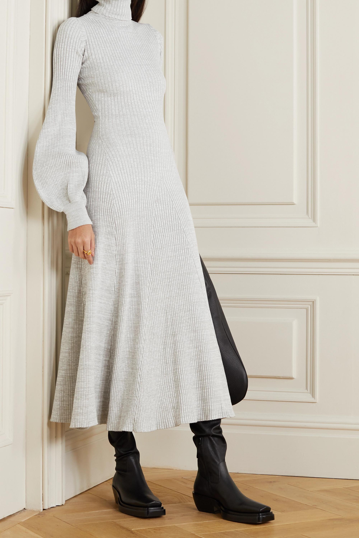 ANNA QUAN Amalia ribbed cotton turtleneck midi dress